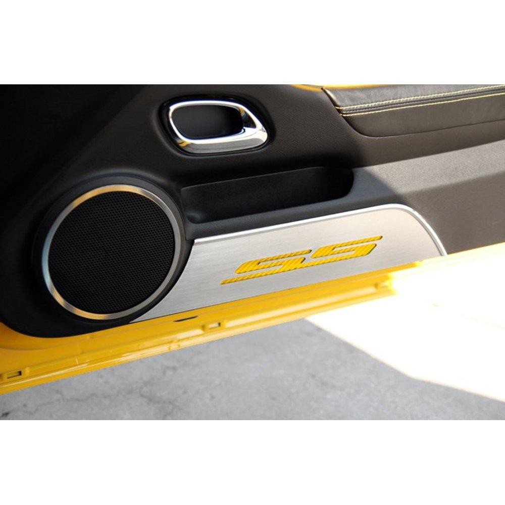 Upgrade Your Auto Brushed Door Panel Kick Plates w/Yellow Carbon Fiber 'SS' Inlay for 10-15 Camaro