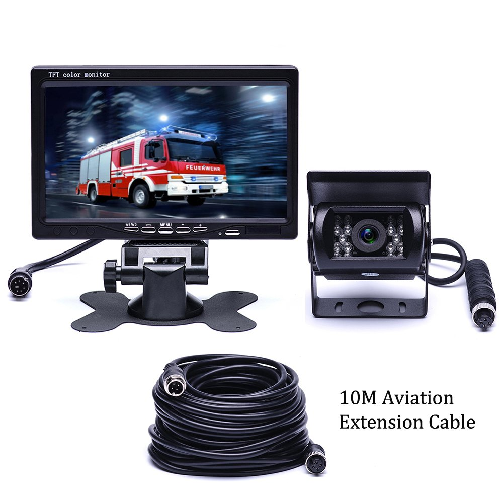 Backup-Camera System with 7'' LCD High Definition Color Monitor,18 IR Night Vision Waterproof Rear View Camera with 33 ft Length Cable for Truck/Car/Bus/RV/Van/Caravan/Trailers