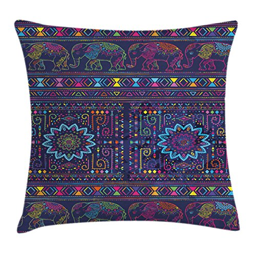 Persian Decorative Arts (Psychedelic Throw Pillow Cushion Cover by Ambesonne, Traditional Middle Eastern and Moroccan Persian Baby Elephants Artwork Print, Decorative Square Accent Pillow Case, 16 X 16 Inches, Multi)