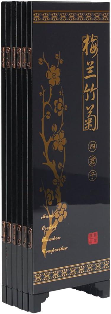 Pianta Larcele 245mm//9.65inch Altezza Mini Schermo Pieghevole in Legno Art Byobu per la Decorazione della Tavola FGPF-01