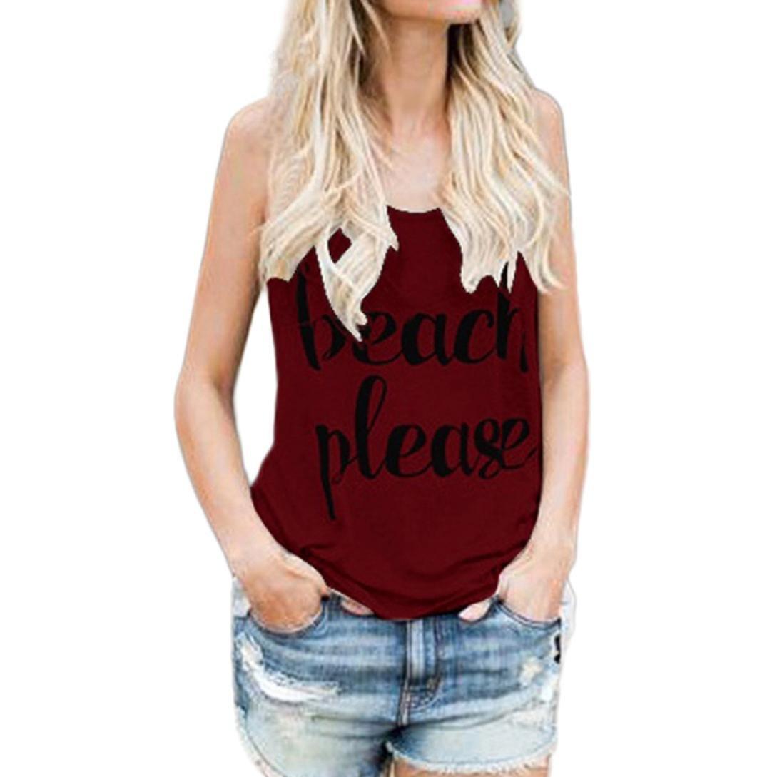 Camicia Donna T-Shirt, MEIbax Donne Cime delle Colture Maglia Casuale Lettera di Stampa Senza Maniche Canotta Camicetta T-Shirt Gilet Moda Top O-Collo Maglietta Pullover L)