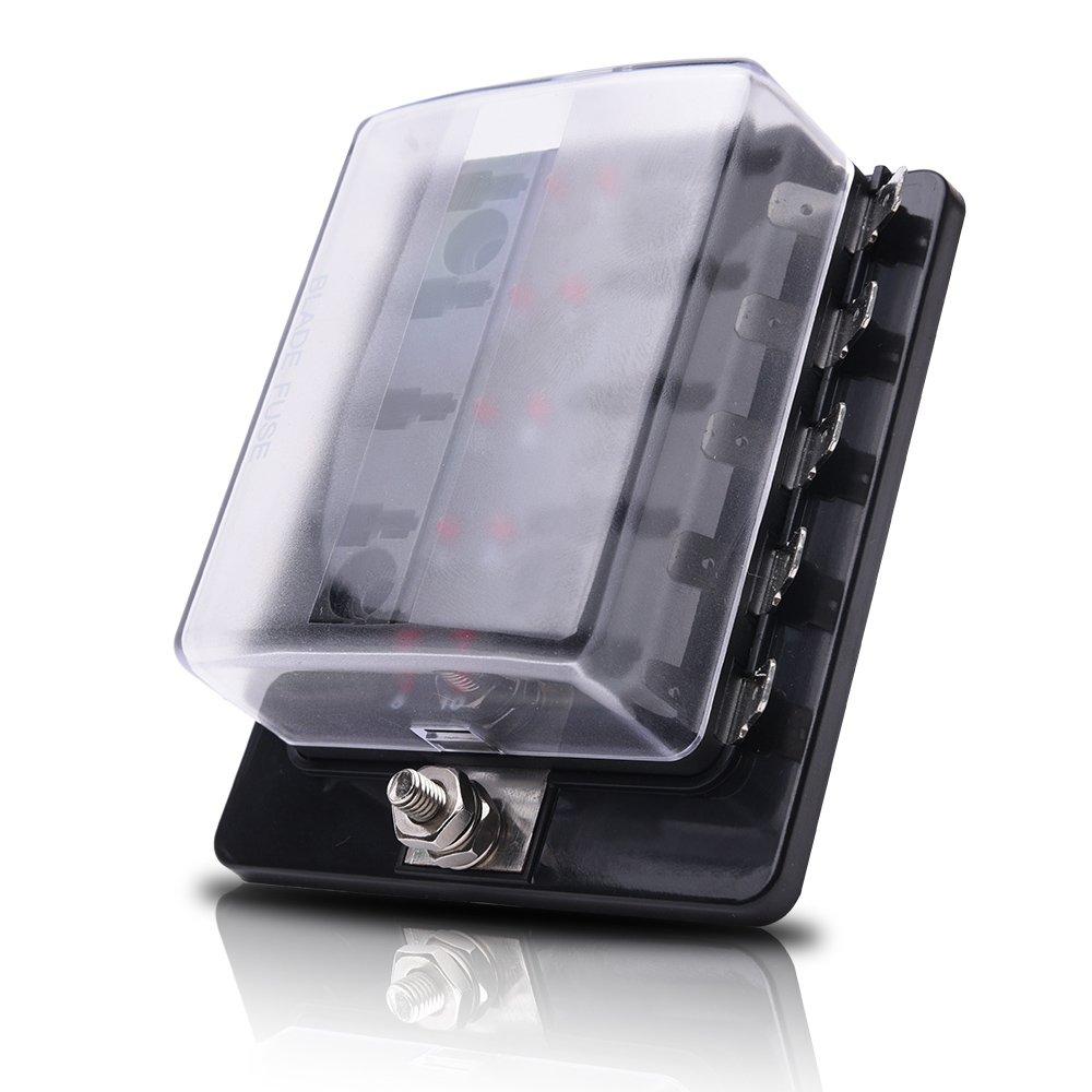 MICTUNING Bo/îte /à Fusibles 6 Places ATC//ATO Porte /à Fusible /à Larme avec lIndicateur LED Couverture de Protection Imperm/éable pour Auto//Bateau//SUV