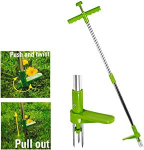 Manual Weeder, Stand-up Weeder with 3 Claws ,Hand Weeder Gardening Tool Stainless Steel.