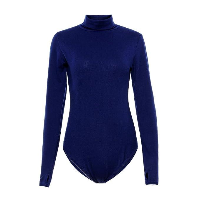ca565c8da Amazon.com: Moxeay Sexy Women Long Sleeve Bodysuit Stretch Body Tops T Shirt  Leotard Jumpsuit: Clothing