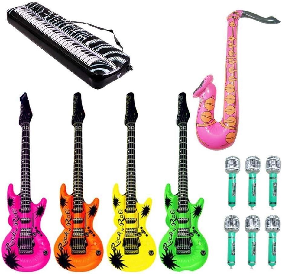Yangmg Instrumentos Musicales Globos Micrófono Inflable Guitarra Saxofón Teclado Piano Rock Toy Set 12 Piezas (Color Aleatorio): Amazon.es: Juguetes y juegos