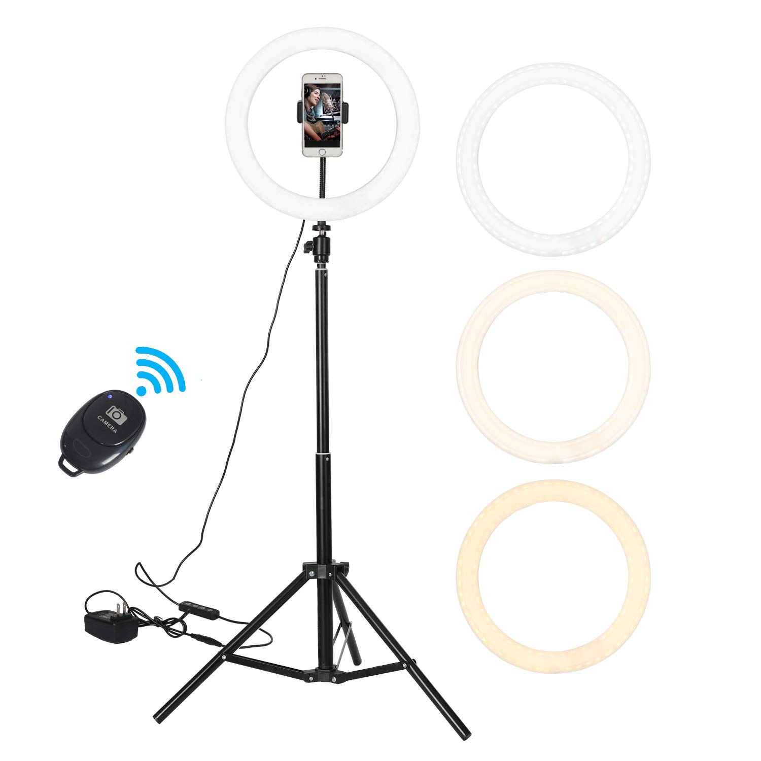 GOGOUP 12'' Ring Light, LED Aluminum Radiator Dimmable LED Selfie o Ring Light with Tripod Stand & Phone Holder for Portrait Vlog YouTube Video Photography Compatible with iPhone Xs Max XR Android by GOGOUP