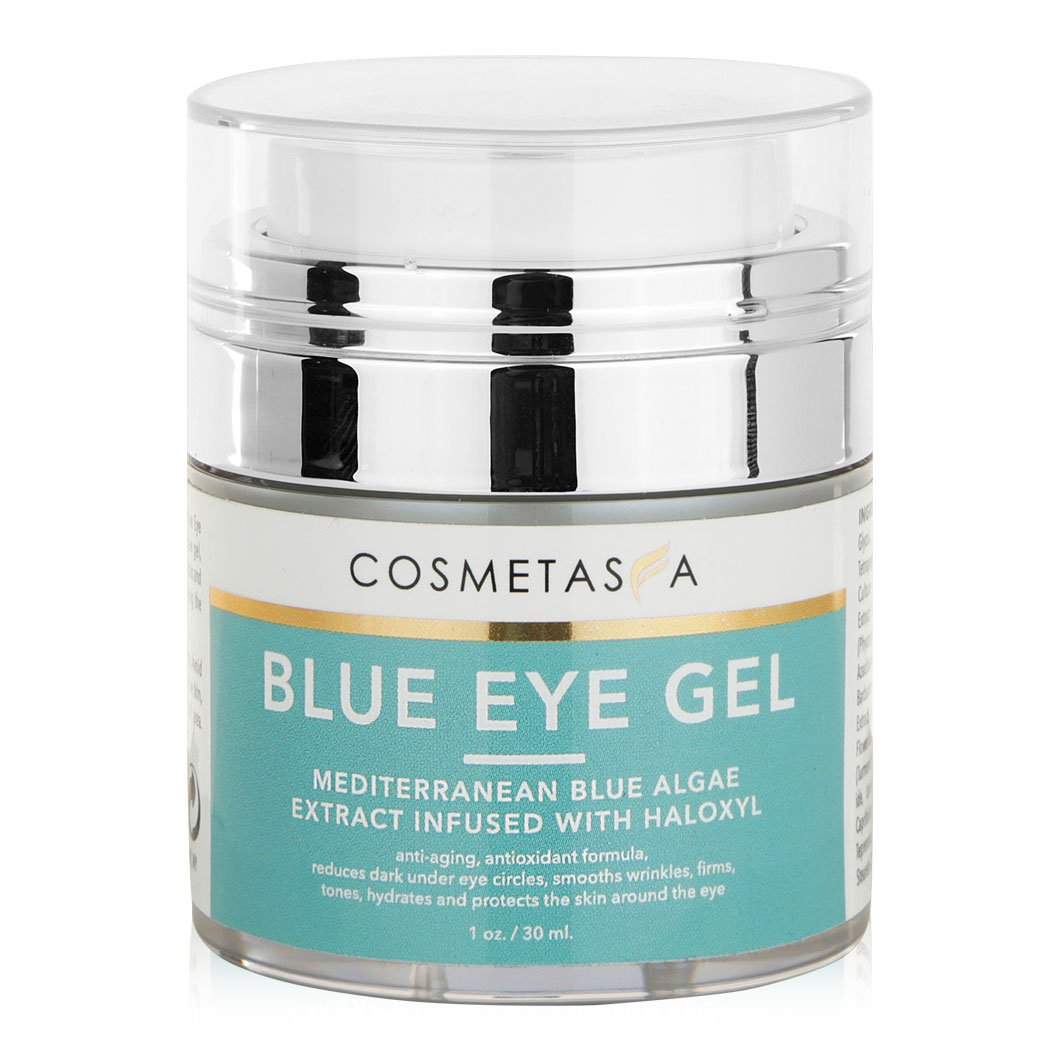 Blue Eye Gel 1 oz:: Combats Dark Circles, Wrinkles, Puffiness. Effective, Skin Toning, Eye Cream by Cosmetasa