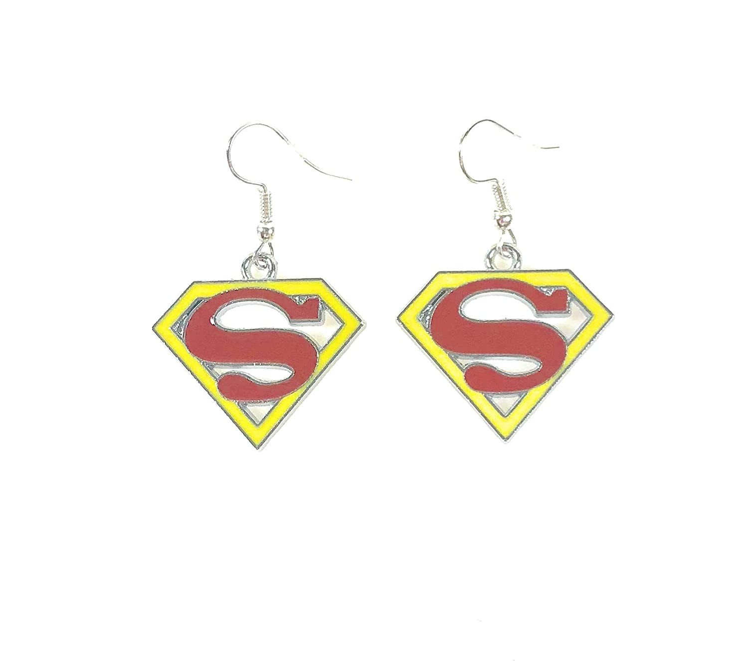Amazon.com: DC COMICS Superhero inspired Superwoman LOGO Symbol Charm Character Silver Metal Dangle Hook Earrings W/Gift Box: Jewelry