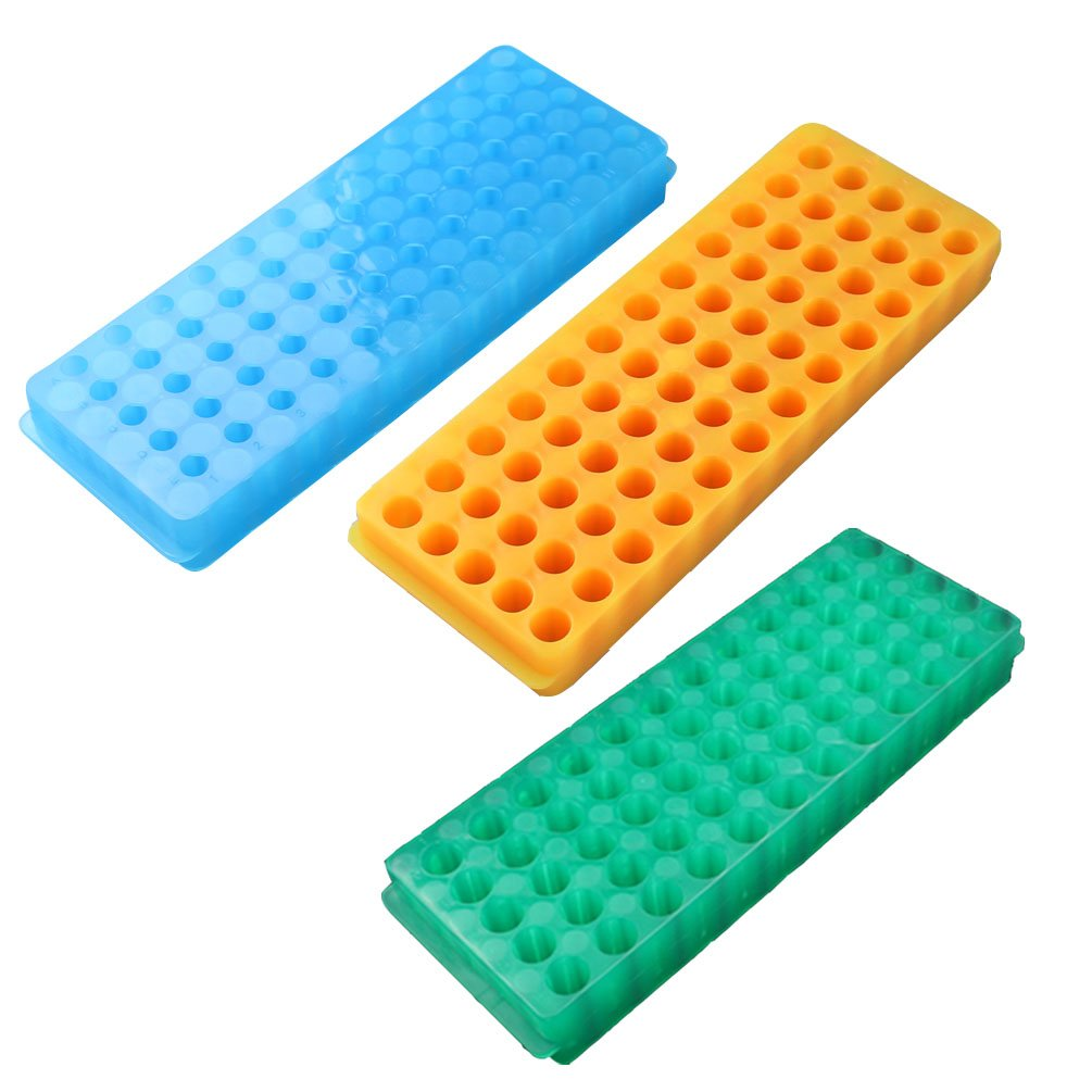 PUL FACTORY Polypropylene Centrifuge Tube Rack, 60-Well,Assorted colors, Pack of 3 by PUL FACTORY