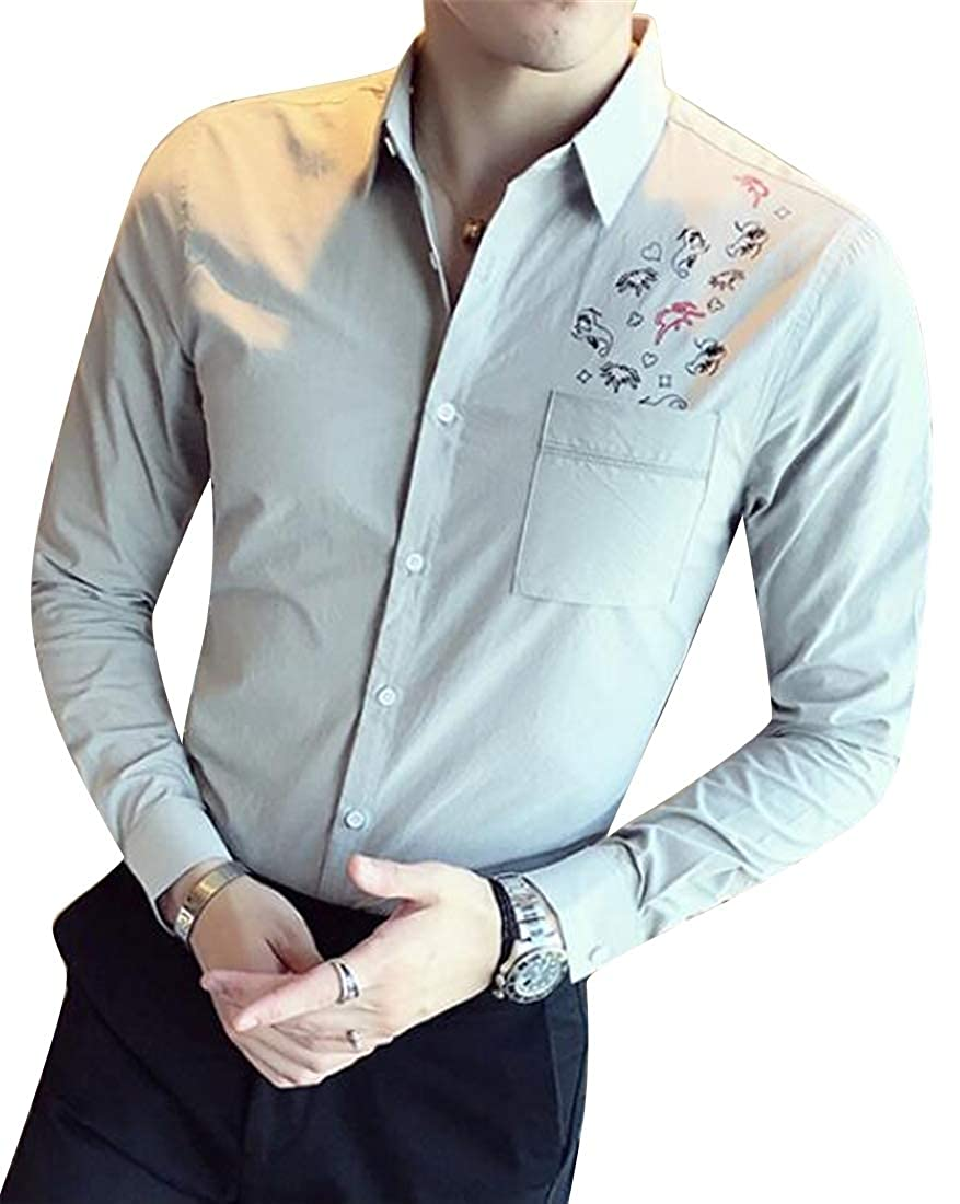 Domple Mens Slim Lapel Collar Floral Long Sleeve Business Button Down Blouse Shirt Tops