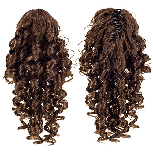 Hair Drawstring (SWACC 12-Inch Short Screw Curls Claw Clip Ponytail Extensions Synthetic Clip in Drawstring Curly Ponytail Hairpiece Jaw Clip Hair Extension (Light Brown-12#))