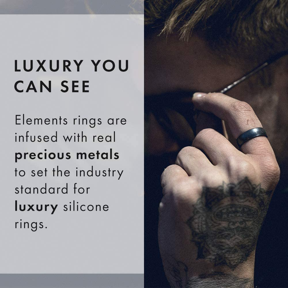 Lifetime Quality Promise Handmade in The USA Enso Rings Thin Elements Silicone Ring The Premium Fashion Forward Silicone Ring Meteorite, 6