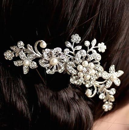 accessori acconciatura matrimonio  pettine cascata di fiori perline Strass afb1e5ce6188