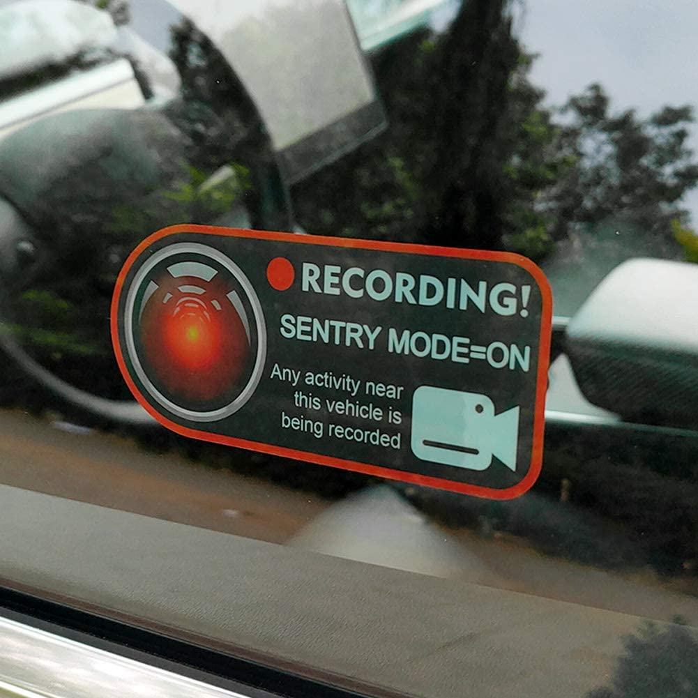 Red RECORDING, SENTRY MODE - ON Model 3 Sentry Mode Static Sticker for Tesla Model 3 S X Y Car Camera Record Window Stickers Paste Without Trace