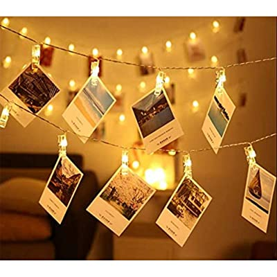 Uscyo LED Photo Clips Fairy Lights 8 Modes - 30 Clip Images Warm White Fairy Lights Picture Frames Decoration for Living Room Indoor House Wedding Bedroom: Home & Kitchen
