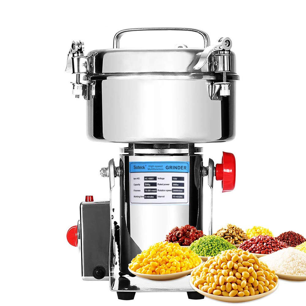 Electric Grain Grinder Mill 2000g Powder Machine High Speed Commercial Swing Type Grinder Machine for Herb Pulverizer Grinding Various Grains Spice by Suteck (Image #1)