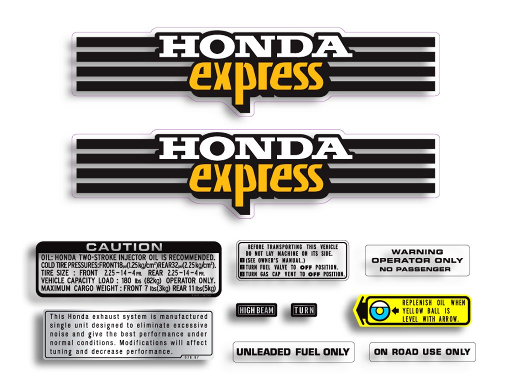 Reproduction Decals HNC-80-050-CS NC50 Express Moped Comlete Decal Set