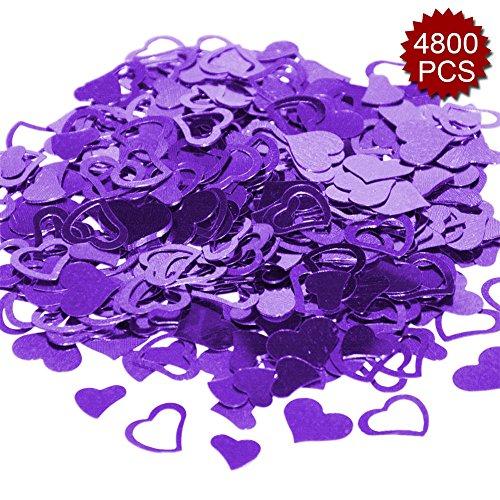 Aspire 4800PCS Heart Table Confetti Party Supply, Glitter Colorful Anniversary Wedding Decoration-Purple