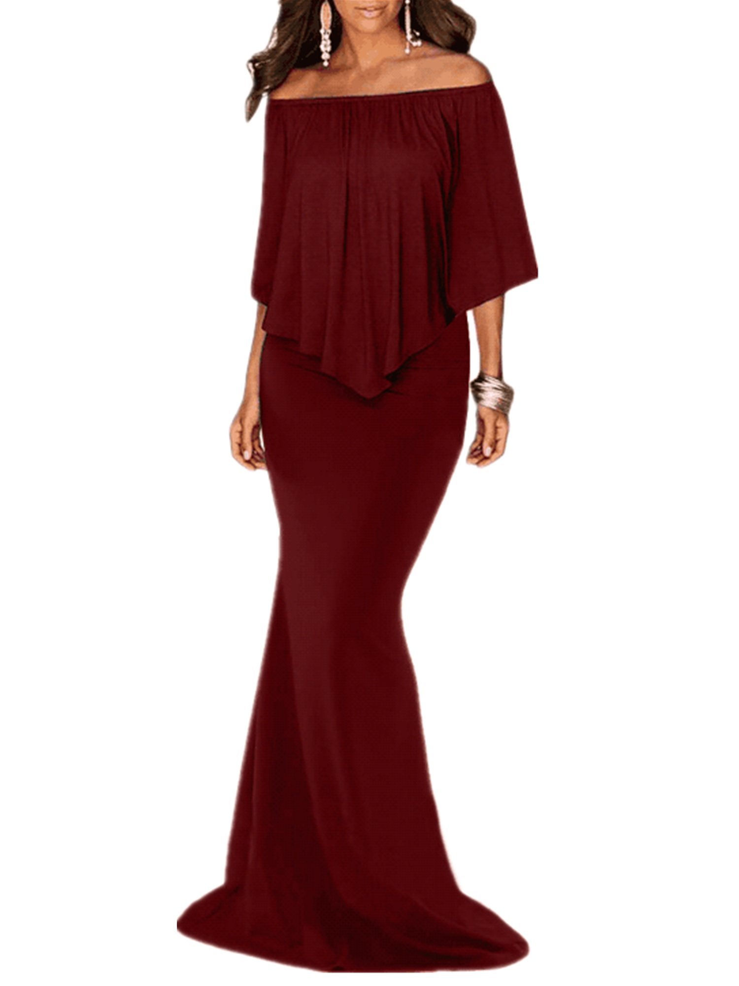 Sidefeel Women Off The Shoulder Ruffled Mermaid Maxi Party Dress Small Burgundy