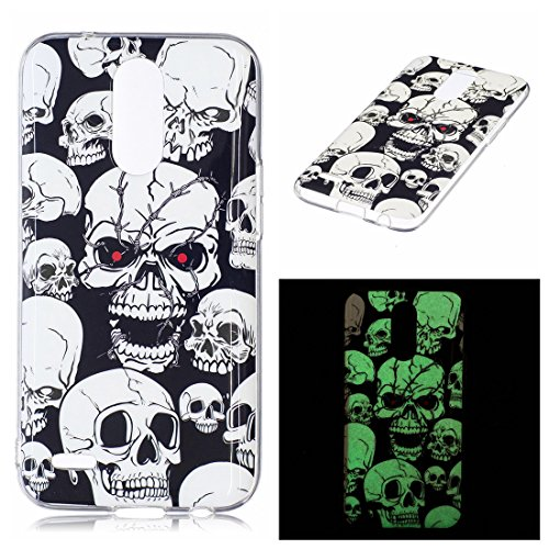 LG K20 Plus Case, LG V5 Case, LG K10 2017 Case, Love Sound Luminous Noctilucent Glow in the Dark [Drop Protection] Flexible Soft TPU Shell Case for LG K20 Plus / LG V5 / LG K10 2017 (Skull)