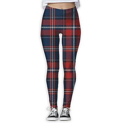 XDDFRTFF Women's Full-Length Yoga Pants 3D Printed Red Plaid Workout Leggings