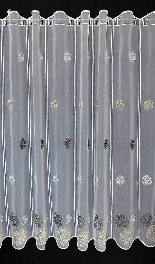 Amazon De Scheibengardine Bestickte Kugeln 100 Cm Hoch Breite Der Gardine Durch Gekaufte Menge In