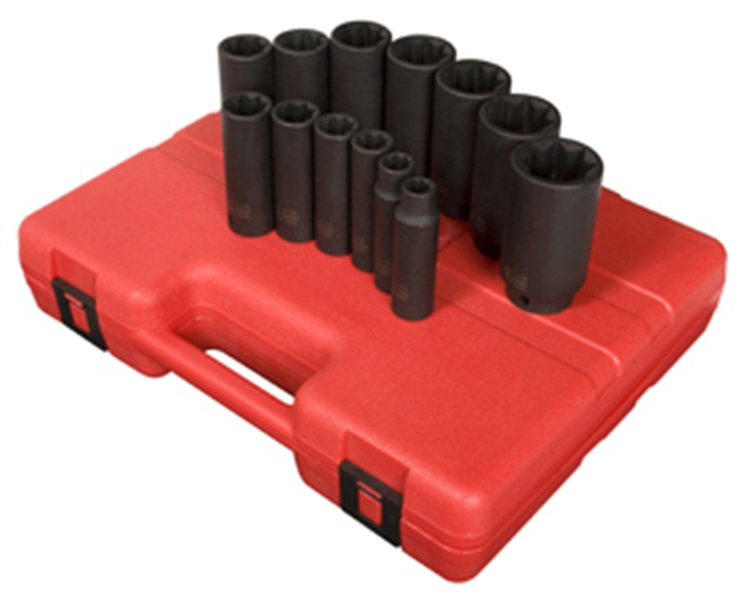 Sunex 2858 1/2-Inch Drive Deep 8-Point SAE Impact Socket Set, 13-Piece Sunex International