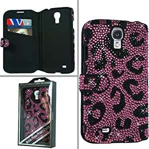 Samsung Galaxy S 4 I9500 I9505 I337 Diamonds Book-Style MyJacket Wallet Protector Cover Case - Hot Pink Leopard