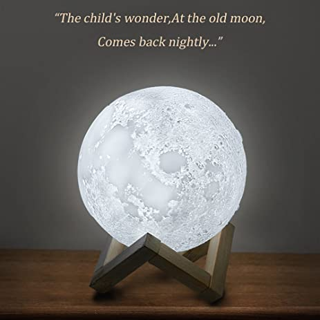 Night Light, Witmoving 3D Printing Moon Light With 3 Colors Dimmable Touch  Control, Hanging