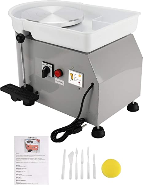 Grey Updated 350W Pottery Wheel Machine with Removable Basin and Pedal for Ceramic Work Clay Art Craft