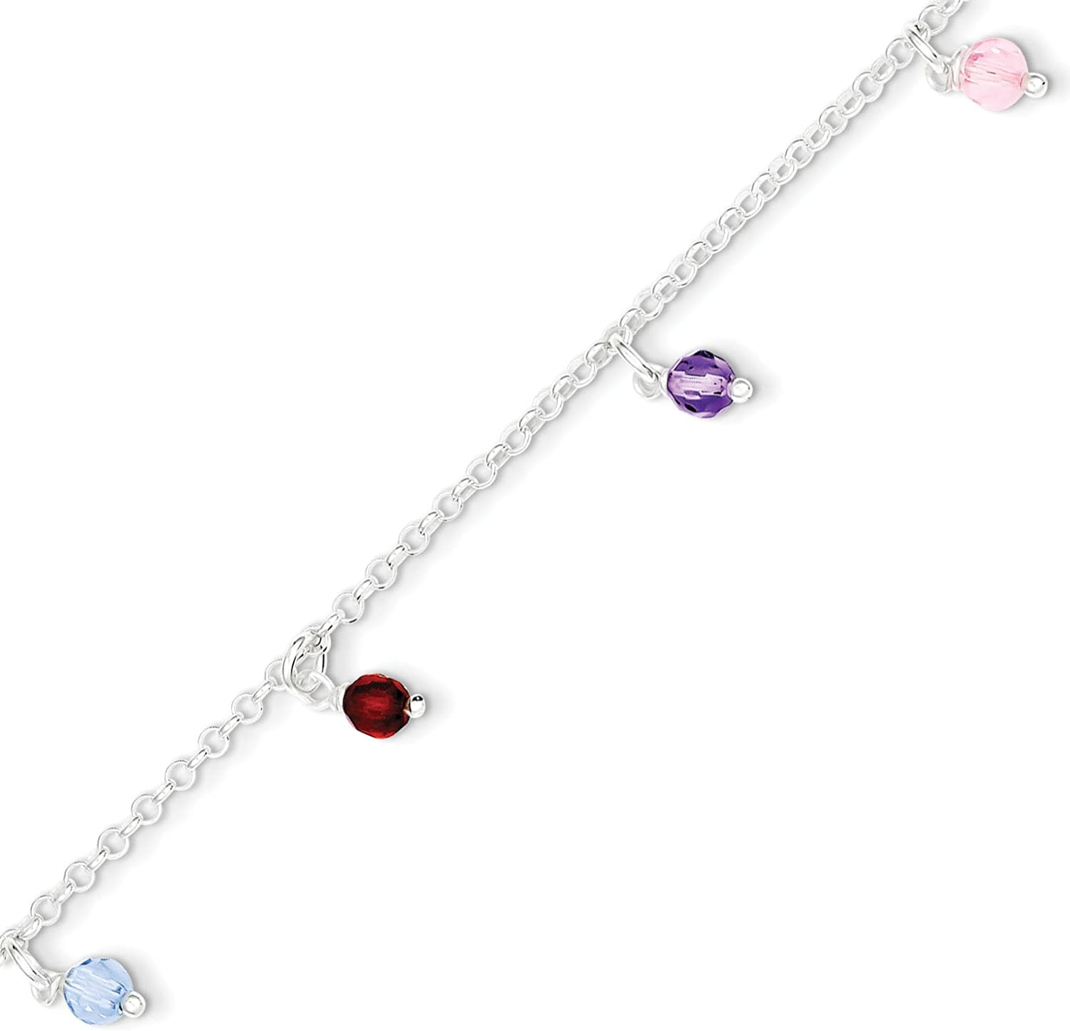 Anklet West Coast Jewelry Sterling Silver and Multi-Colored Beads Polished with 1 Inch Ext 9 Inches Long
