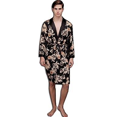 KAXIDY Mens Nightwear Dressing Gown Robe Bath Nightgown Sleepwear Bathrobes  (Black)(Size  One Size)  Amazon.co.uk  Clothing 103a8a538