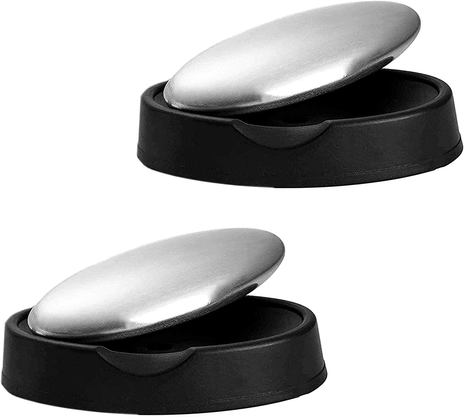Haluoo 2 Pcs Oval Stainless Steel Soap Magic Kitchen Odor Remover Odor Absorber Smells Deodorize Gadget Tools for Garlic Onion Fish Odor Eliminating Fits Refrigerator Kitchen Bathroom