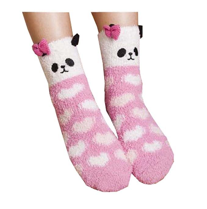 1 par de calcetines adultos de lana de Coral Coral calcetines de piso Fuzzy cálido tripulación