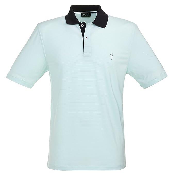 GOLFINO Polo de Golf de Caballero a Rayas en Corte Normal Verde L ...