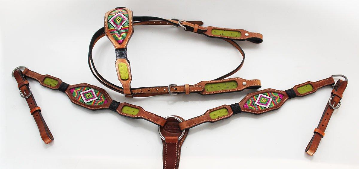 Horse Show Bridle WesternレザーHeadstall Breast襟7915   B0752XBD76