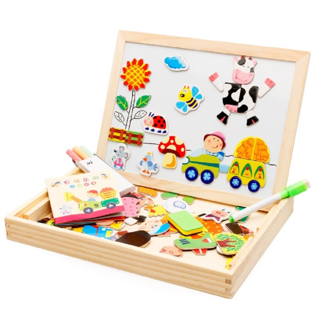 Happy Farm ---100% Natural Wooden Double-face Magnetic Drawing Board for Kids, White & Black Double-face Easel Doodle, Jigsaw Puzzle Games Educational Toys