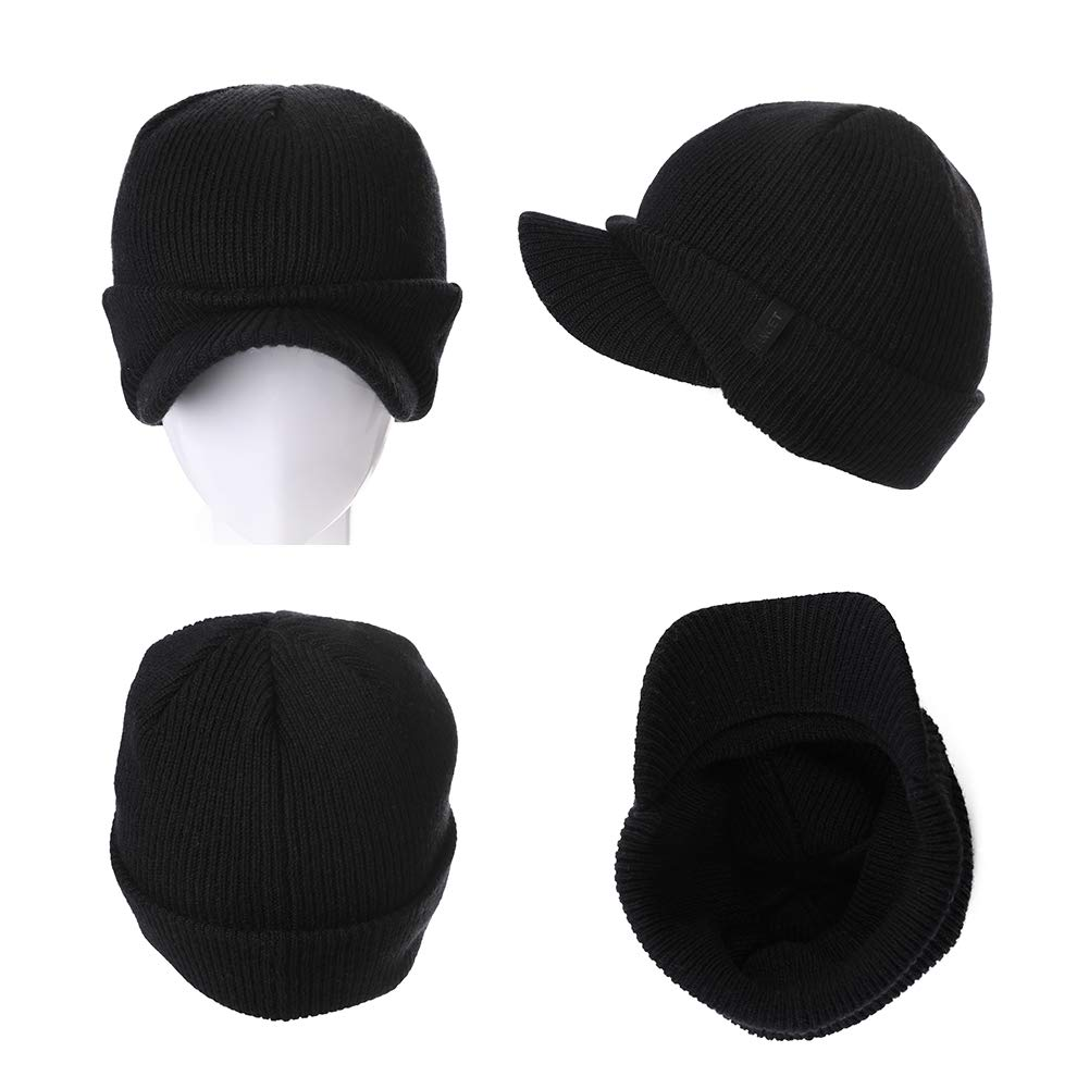 FancetHat Unisex Wool Visor Cuff Peaked Beanie Ribbed Knitted Newsboy Cap Double Layer Winter Warm Ski Hats for Men /& Women 55-59CM