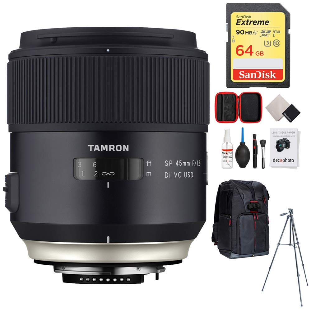 Tamron SP 45mm f/1.8 Di VC USD Lens for Nikon Mount (AFF013N-700) with 64GB Memory Card, Photo Camera Sling Backpack, Vanguard 60'' Video Tripod and All-in-One Cleaning Kit
