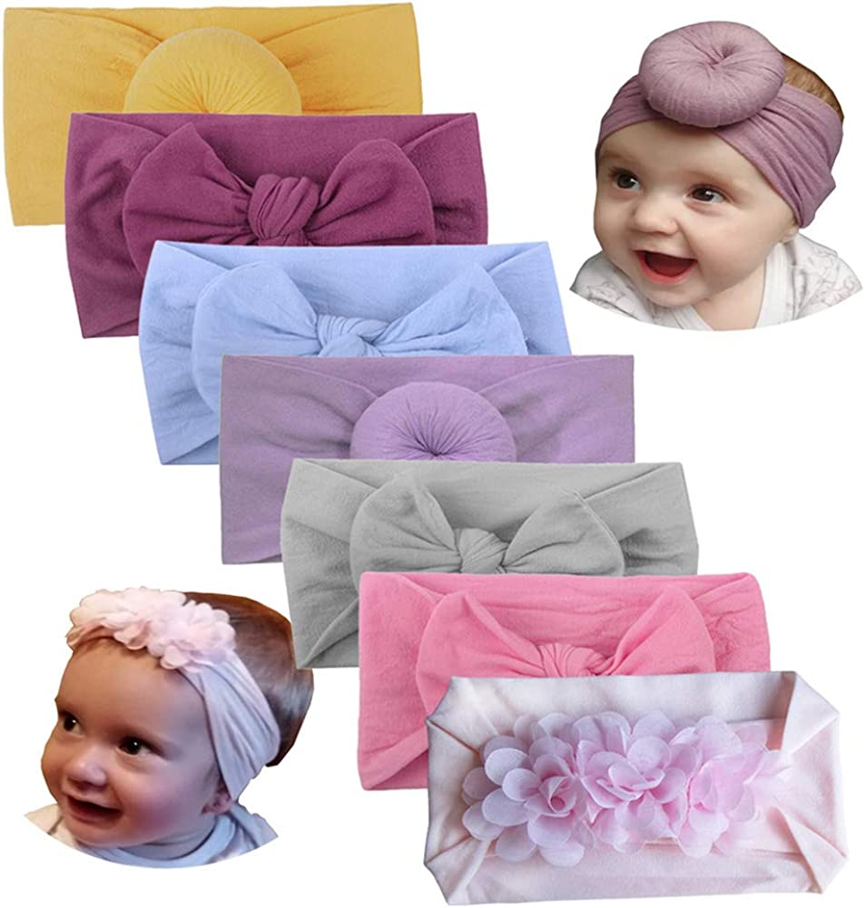 Baby Headbands Big Bowknot Headwraps Turban Headbows Printed Hair Accessories #