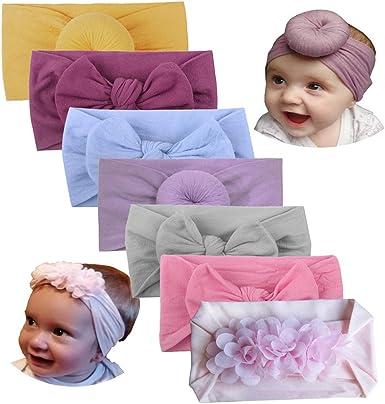 Newborn Baby Nylon Headband Kids Stretch Bowknot Turban Headband