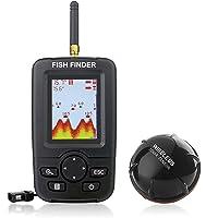Venterior Portable Fish Finder Wireless Sonar Sensor Fishfinder Depth Locator with Fish Size, Water Temperature, Bottom Contour, Color LCD Display