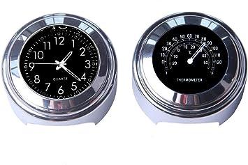 colore: Nero Orologio da manubrio da moto e termometro universale SANWAN 7//8 pollici 2 pezzi impermeabile