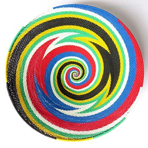 (African Zulu woven telephone wire bowl - Large shallow bowl - South African flag multicolour)