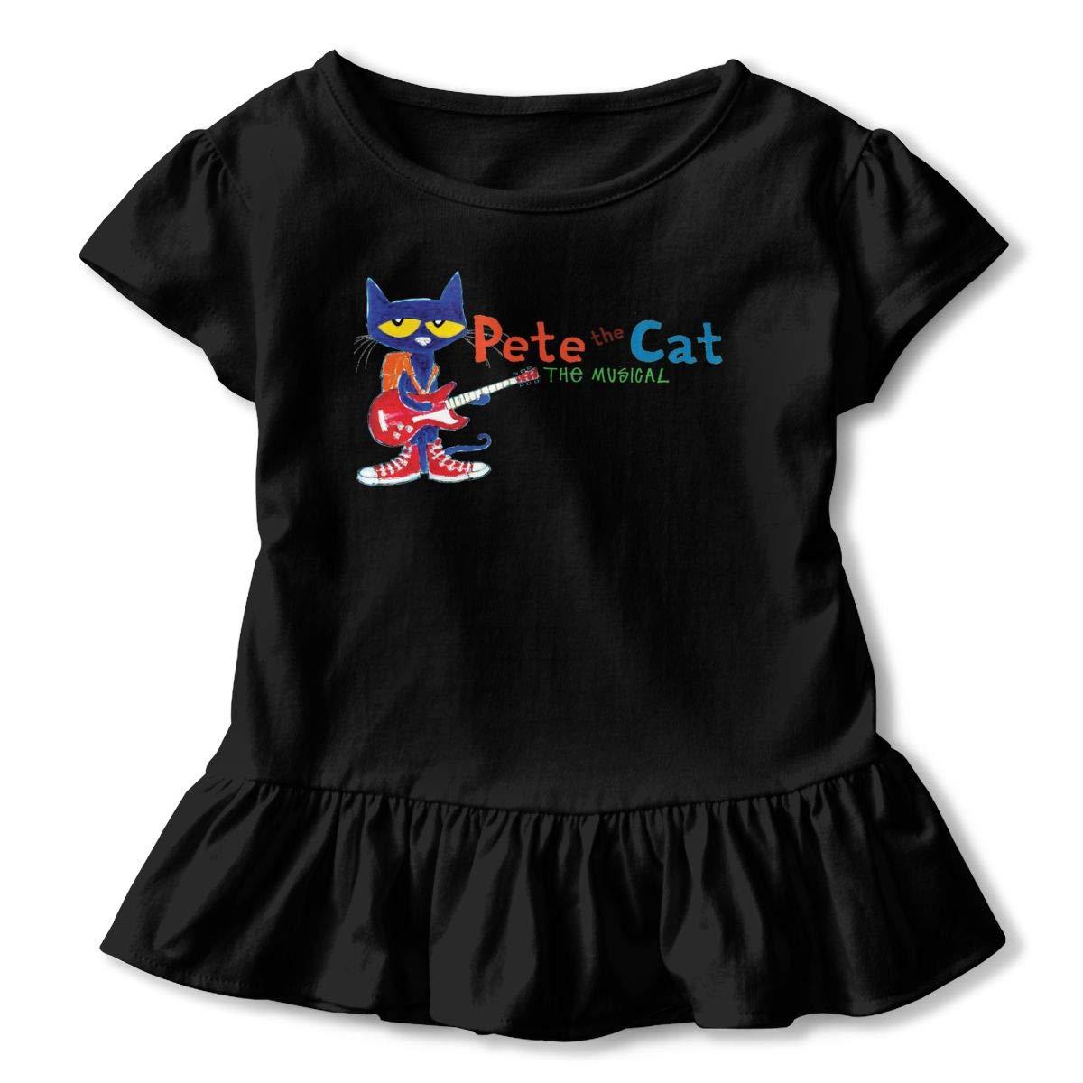 Pete The Cat Shirt Comfort Infant Girl Flounced T Shirts Tee Shirts for 2-6T Kids Girls