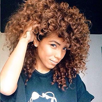 Peluca larga de pelo natural rizado, para mujer, color marrón, estilo afro