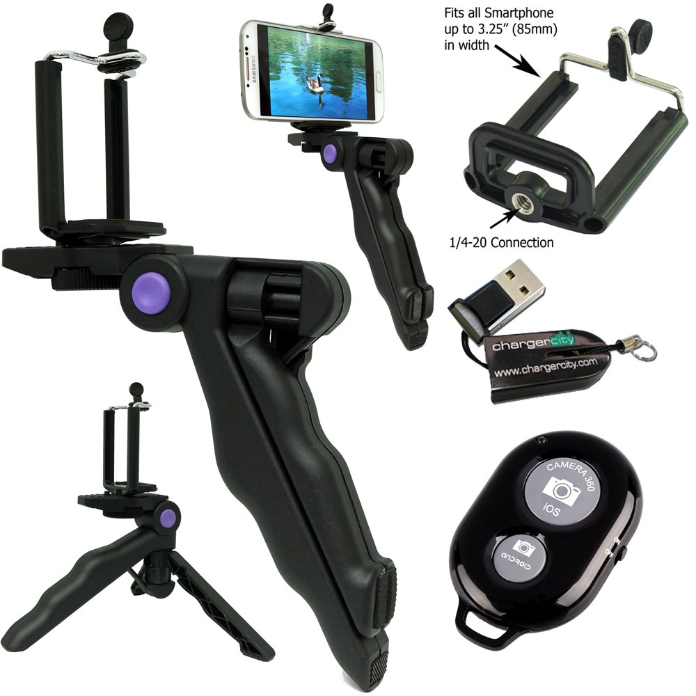 ChargerCity Selfie Photo Booth Kit w/Handheld Pistol Grip Tripod Bluetooth Remote & Smartphone holder for Apple iphone X 8 7 Plus 6s Samsung Galaxy S8 S9 Note w/Free Micro SD Memory Card Reader by ChargerCity