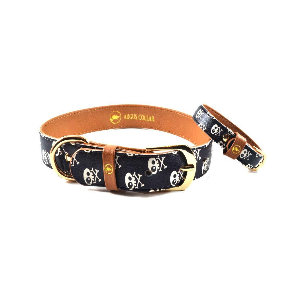 Skull & Bones Dog Collar with Matching Friendship Bracelet, Skull Dog Collar, Pirate dog collar, Rock dog Collar, Blackdog collar, dog collar for boys ArgusCollar