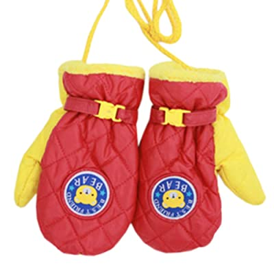 1 Pair Kids' Winter Gloves Warm Mittens Windproof Glove(2-6 Years) Red/Yellow