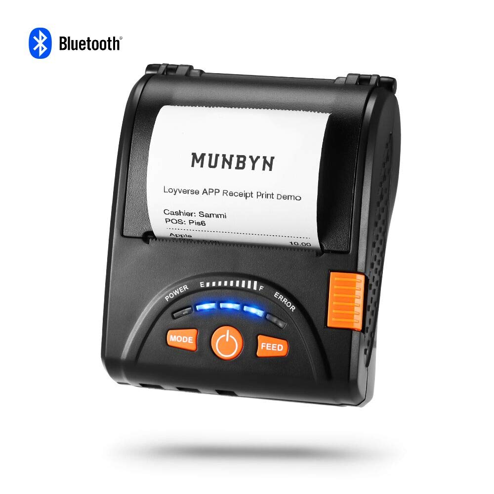 Impresora térmica portátil MUNBYN, Mini Wireless Ticket Receipt impresora Bluetooth 4.0/USB, mando ESC/POS compatible con Android/Windows/iOS (IMP001)